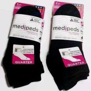 🌿 8 Pair Womens MediPeds Diabetic Socks Black